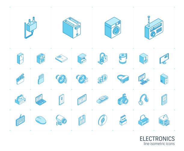 エレクトロニクスとマルチメディアアイソメトリックラインアイコン。3d ベクトル - ゲーム ヘッドフォン点のイラスト素材/クリップアート素材/マンガ素材/アイコン素材