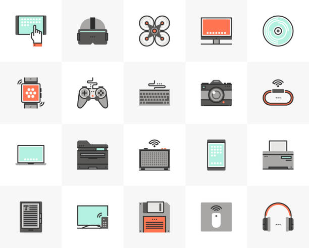 Electronics Devices Futuro Next Icons Pack Flat line icons set of electronics devices, computer technology. Unique color flat design pictogram with outline elements. Premium quality vector graphics concept for web, logo, branding, infographics. electrical equipment stock illustrations
