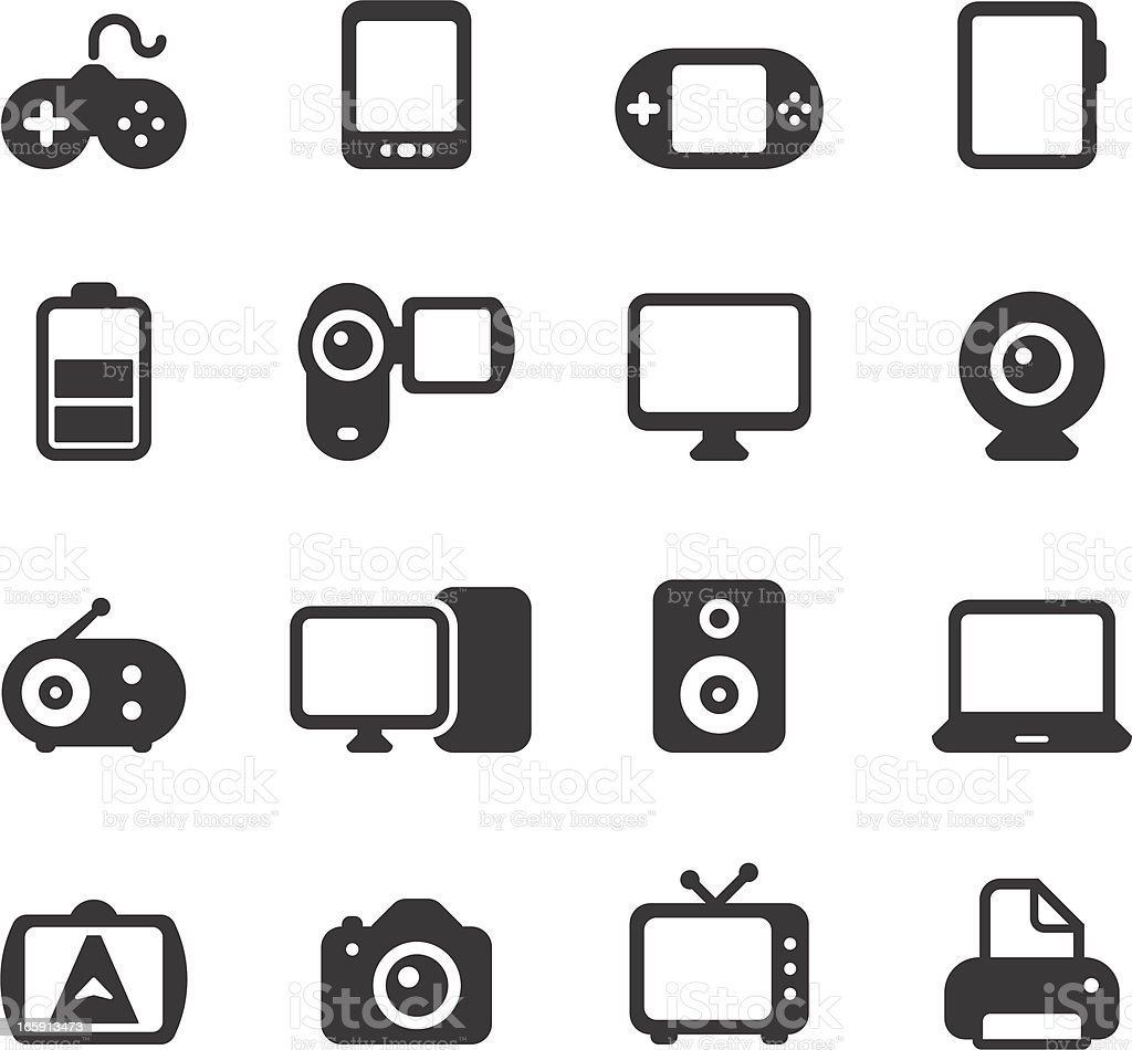 Electronics, Devices Icons royalty-free stock vector art