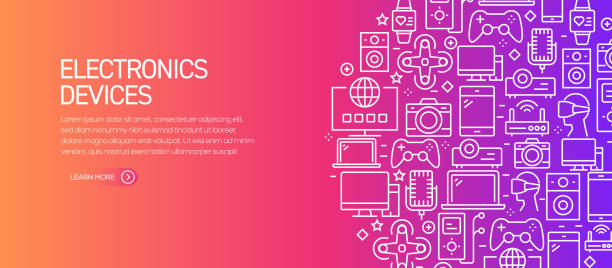 Electronics Devices Related Banner Template with Line Icons. Modern vector illustration for Advertisement, Header, Website. Electronics Devices Related Banner Template with Line Icons. Modern vector illustration for Advertisement, Header, Website. electrical equipment stock illustrations