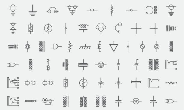 elektronika, układ elektryczny komponentu ikony linii - przewód składnik elektryczny stock illustrations