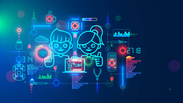 Electronics engineering and hardware programming learning for teens. Boy and Girl coding on laptop in online school for child education of creating electronic robots. Happy kids on science lesson. vector art illustration