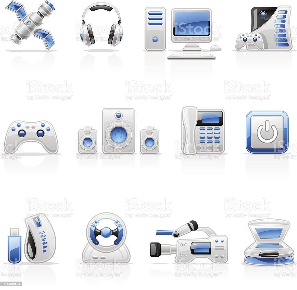 Electronics icons: computer, satellite, gamepad, audio, headphones, video, game, scanner. royalty-free electronics icons computer satellite gamepad audio headphones video game scanner stock vector art & more images of audio equipment
