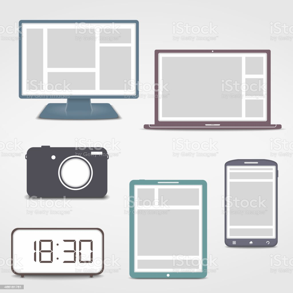 Electronics Icons vector art illustration