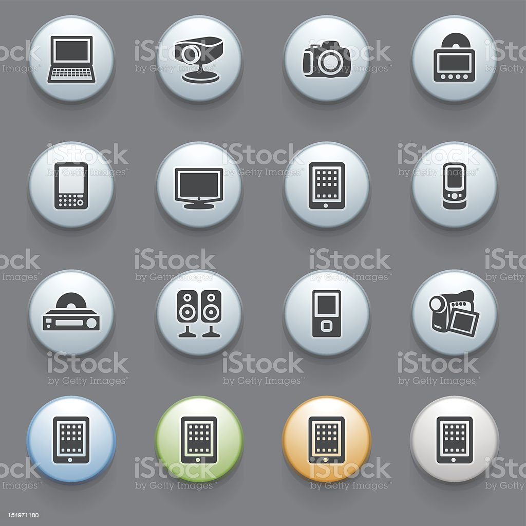 Electronics icons with color buttons on gray background. royalty-free stock vector art