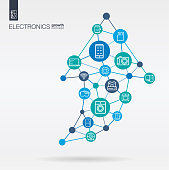 Electronics integrated thin line icons. Graph chart growth, progress and success in arrow up shape. Digital neural network concept.