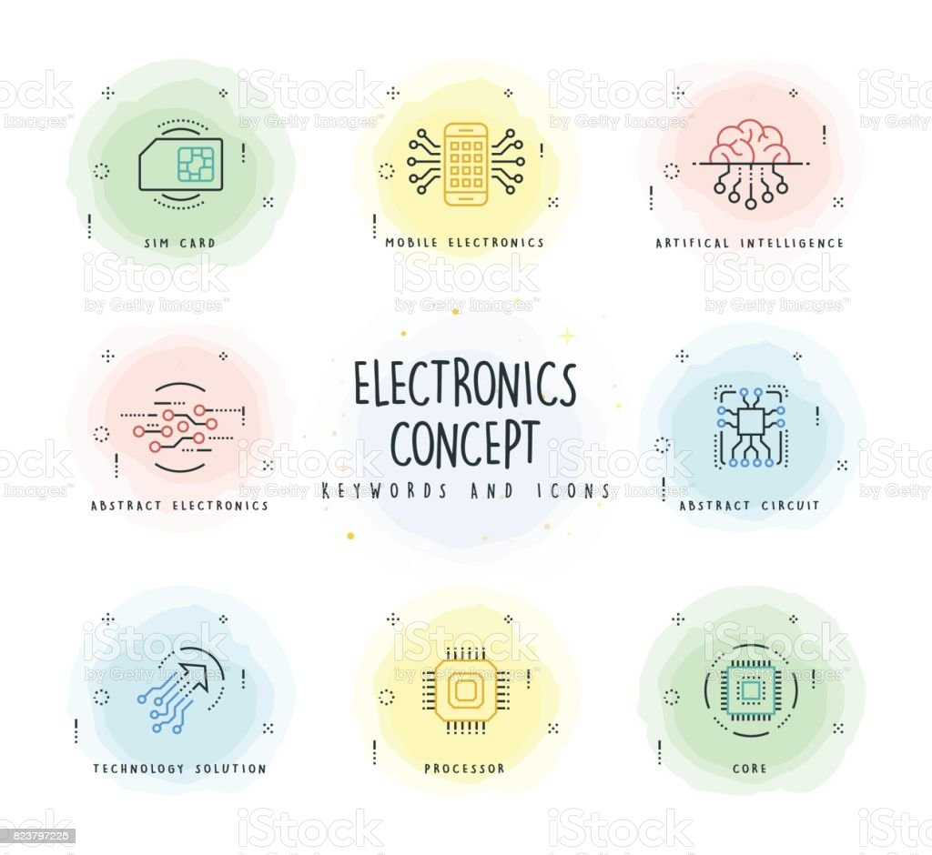 Electronics Line Icon Set with Watercolor Patch vector art illustration