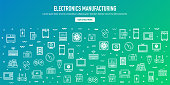 Electronics manufacturing industry outline style web banner design. Line vector icons for infographics, mobile and web designs.
