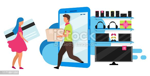 istock Electronics online store flat vector illustration. Order delivery, cash free purchase service. Eshopping, internet appliance store. Customer and seller isolated cartoon character on white background 1171991055