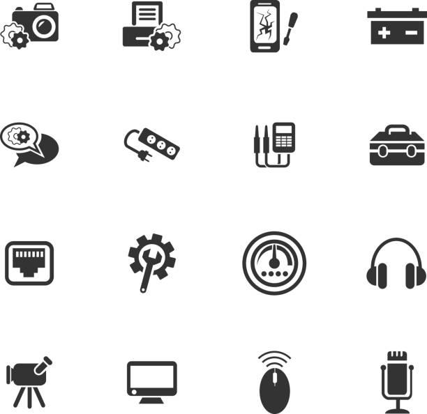 illustrations, cliparts, dessins animés et icônes de ensemble d'icônes de réparation électronique - rallonge électrique