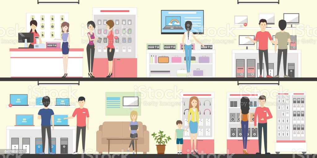 Electronics store interior set. vector art illustration