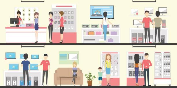 家電量販店、インテリア セットです。 - 小売販売員点のイラスト素材/クリップアート素材/マンガ素材/アイコン素材