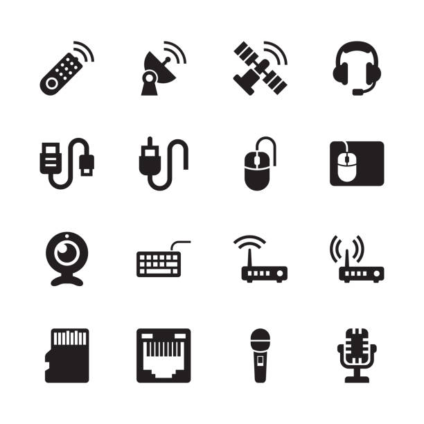 stockillustraties, clipart, cartoons en iconen met elektronica & technologie iconen - set 4 - kabel