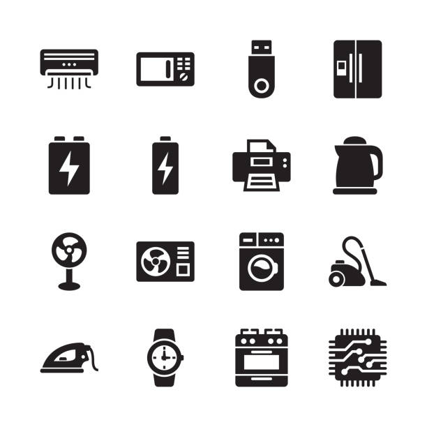 elektronik & technologie icons - set 5 - haushaltsmaschine stock-grafiken, -clipart, -cartoons und -symbole