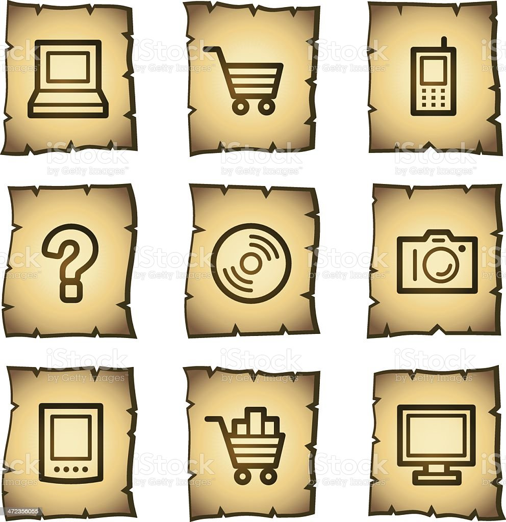 Electronics web icons, papyrus series royalty-free electronics web icons papyrus series stock vector art & more images of antique