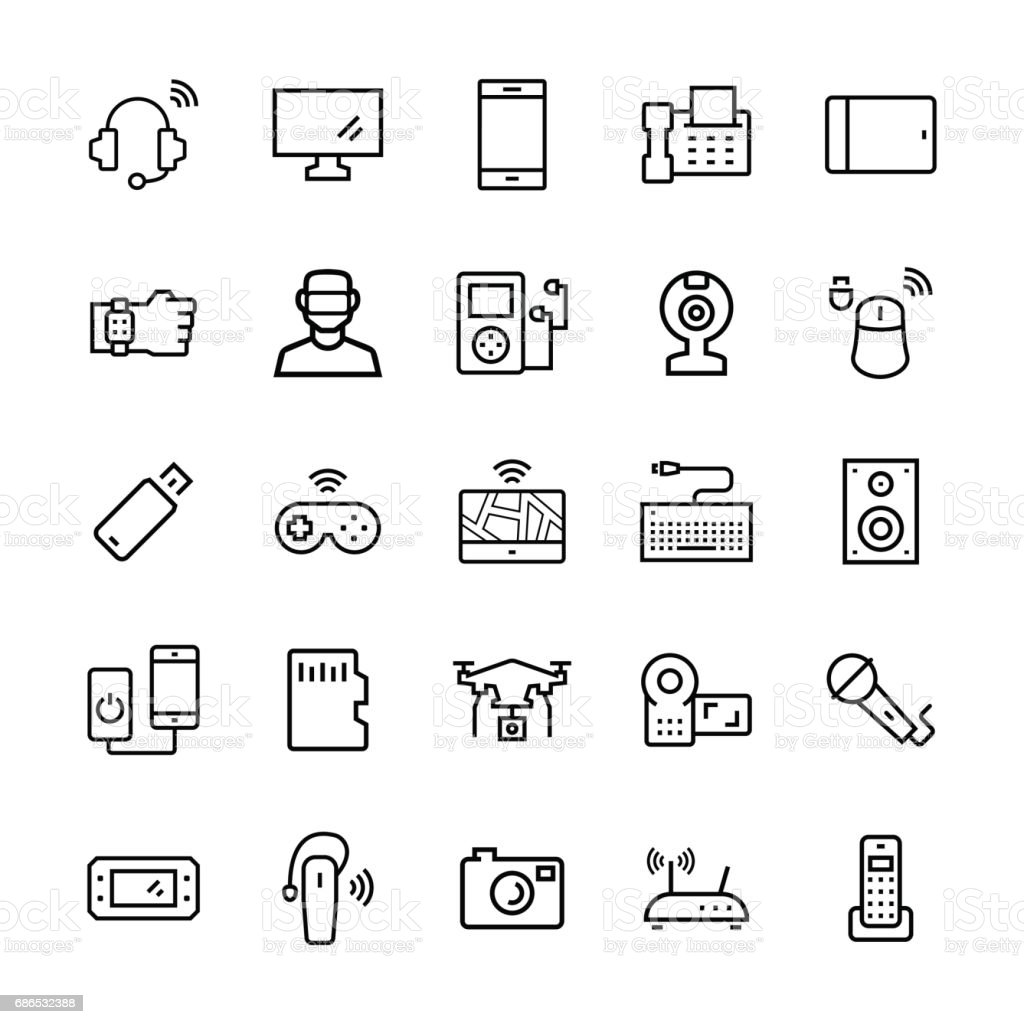 Electronicsgadgets And Devices Icon Set Vector Symbols Stock Vector ...