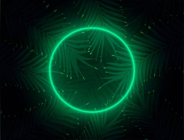 Electrowave Popwave Fluorecent Neon Circle in Darksynth Spacewave Jungle Background vector art illustration