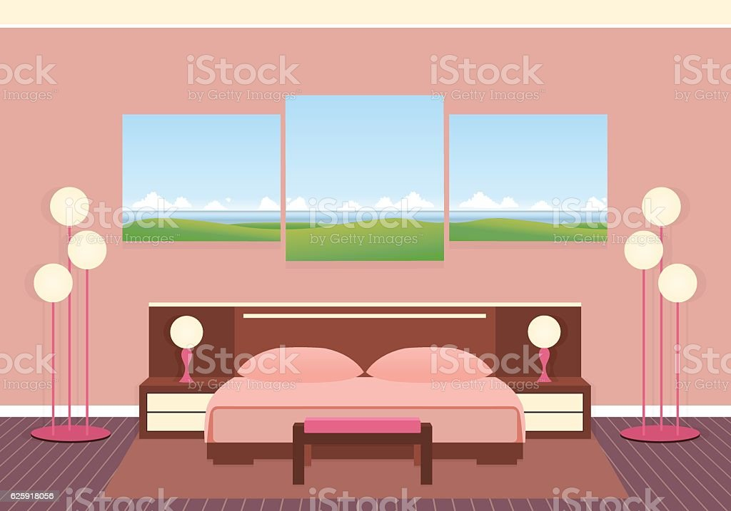 Elegance bedroom interior with furniture, lamps and composite picture. vector art illustration