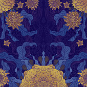 A brush painted floral motif design in gold & purple