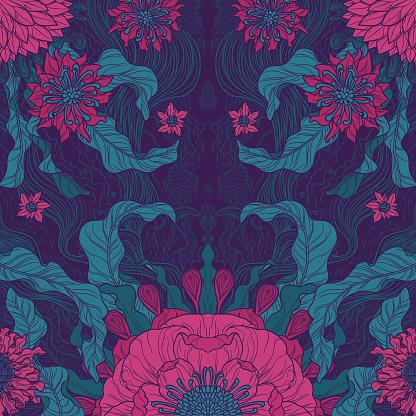 elegance brush painted floral motif design in green & magenta