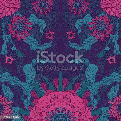 A brush painted floral motif design in green & magenta