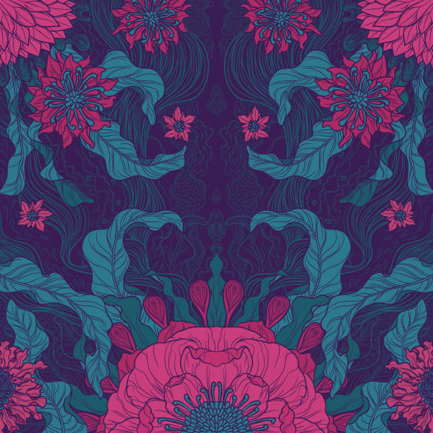 elegance brush painted floral motif design in green & magenta - floral and decorative background stock illustrations