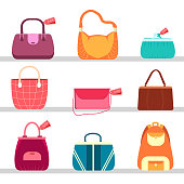 elegance fashion handbags and bags in flat seamless background
