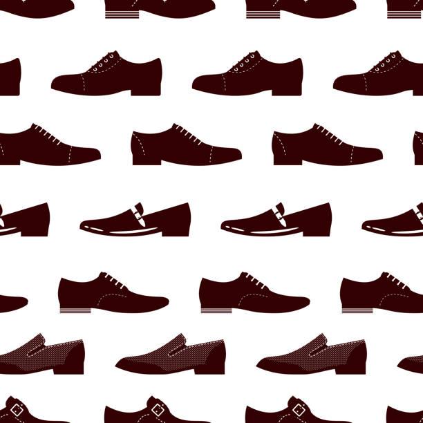 elegante schuhe nahtlos. männliche stiefel nahtlose textur - eleganter schuh stock-grafiken, -clipart, -cartoons und -symbole