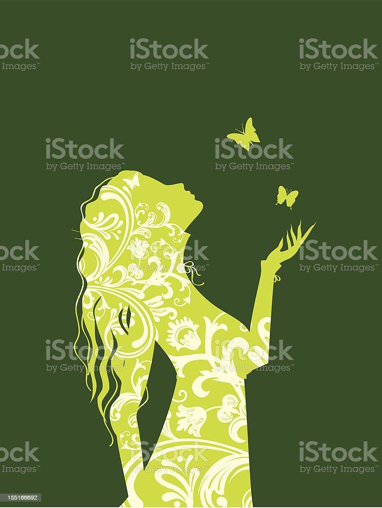 Elegance girl vector art illustration