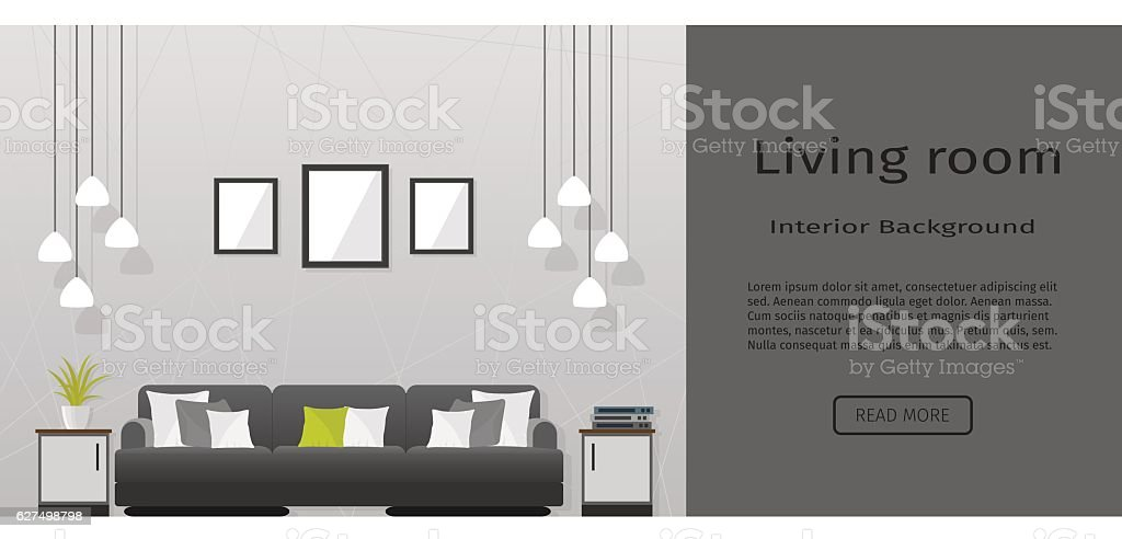 Elegance living room interior banner for your web design. vector art illustration