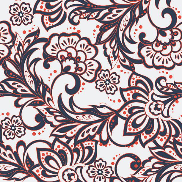 stockillustraties, clipart, cartoons en iconen met elegance seamless pattern with ethnic flowers. - batik