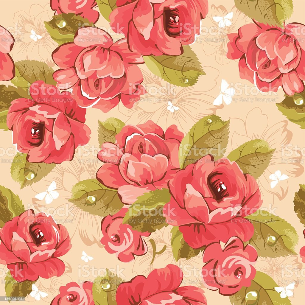 Elegance Seamless Wallpaper Pattern With Of Pink Roses Royalty Free