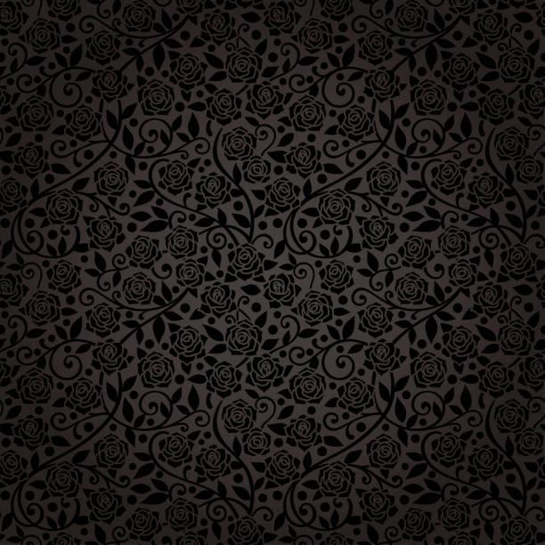 eleganz nahtlose tapete mit schwarzen rosen. - plüschmuster stock-grafiken, -clipart, -cartoons und -symbole