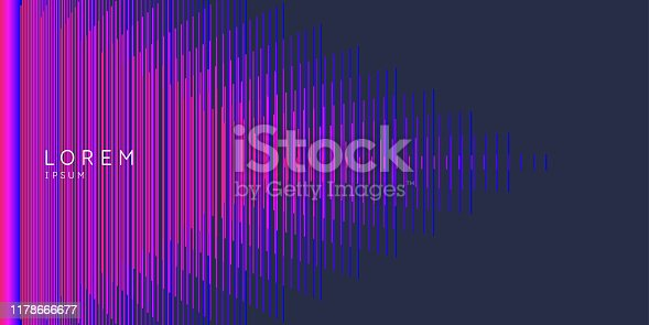 Elegant abstract poster with colorful lines on a dark background. Vector illustration