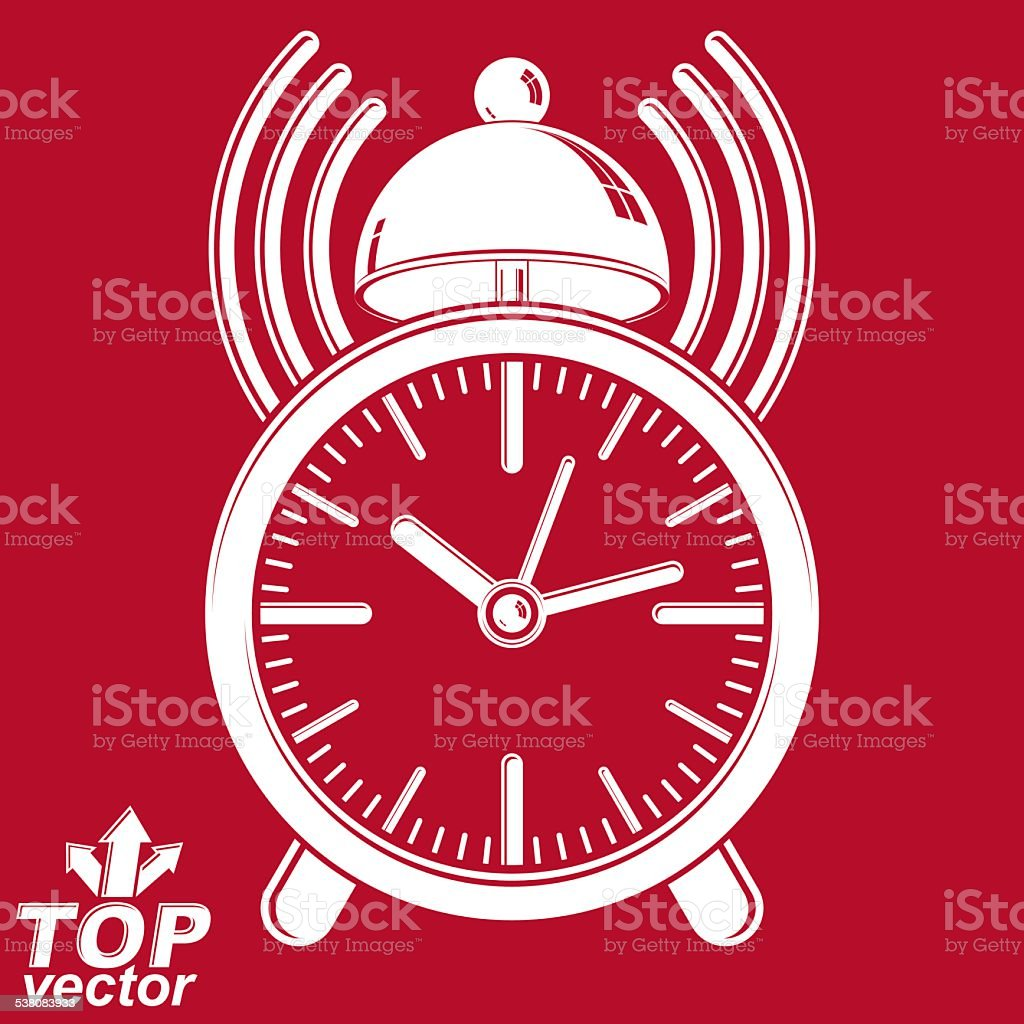 Elegant Alarm Clock Vector 3d Illustration With Podcast Sign Stock