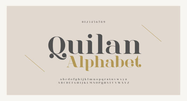 elegant alphabet letters font and number. classic copper lettering minimal fashion designs. typography fonts regular uppercase and lowercase. vector illustration - alphabet designs stock illustrations
