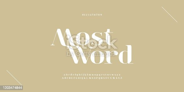 istock Elegant alphabet letters font and number. Classic Copper Lettering Minimal Fashion Designs. Typography fonts regular uppercase and lowercase. vector illustration 1203474844