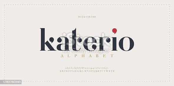 istock Elegant alphabet letters font. Classic Modern Serif Lettering Minimal Fashion Designs. Typography  decoration fonts for branding, wedding, invitations, logos. vector illustration 1283280393