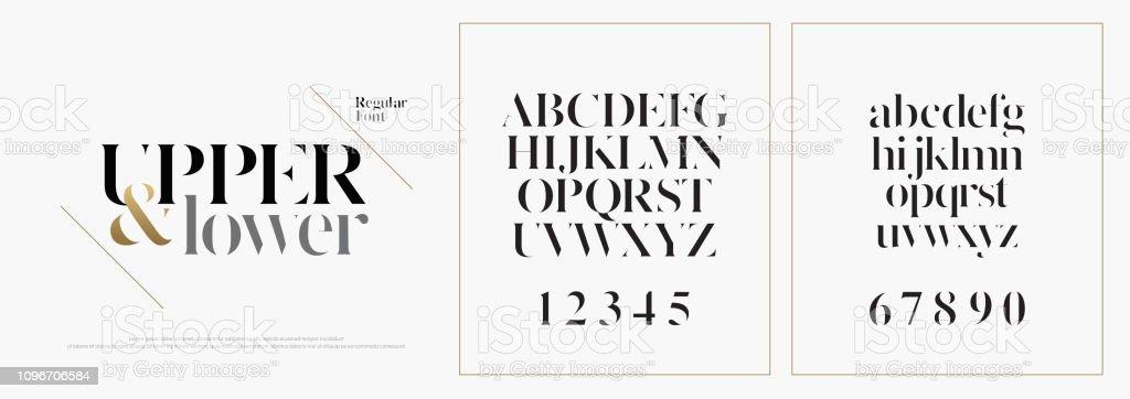 優雅的字母表字字體集。經典的自訂刻字設計的標誌, 海報。版式字體經典樣式、常規大寫、小寫和數位。向量例證 - 免版稅全景圖庫向量圖形