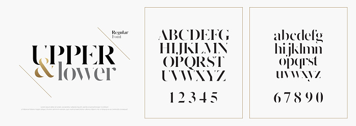 Elegant alphabet letters font set. Classic Custom Lettering Designs for logo, Poster. Typography fonts classic style, regular uppercase, lowercase and number. vector illustration clipart
