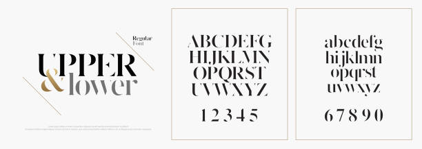 elegant alphabet letters font set. classic custom lettering designs for logo, poster. typography fonts classic style, regular uppercase, lowercase and number. vector illustration - alphabet designs stock illustrations
