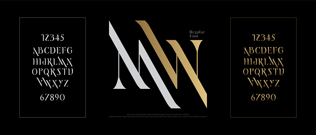 優雅的字母表字字體集經典的黃金租賃排版字體規則大寫和數位向量例證向量圖形及更多全景圖片