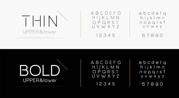 Elegant alphabet letters font set. Classic lettering typography fashion fonts thin, bold, uppercase, lowercase and number. vector illustration Elegant alphabet letters font set. Classic lettering typography fashion fonts thin, bold, uppercase, lowercase and number. vector illustration alphabet symbols stock illustrations