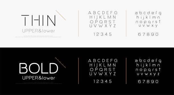 우아한 알파벳 문자 글꼴 설정 합니다. 클래식 레터링 타이포 그래피 패션 글꼴 얇고 굵게, 대문자, 소문자 및 숫자입니다. 벡터 일러스트 - 날씬한 stock illustrations