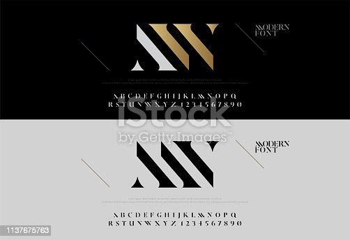 Elegant alphabet letters font set. Modern lettering fashion concept. Typography fonts classic style, regular uppercase and number. vector illustration