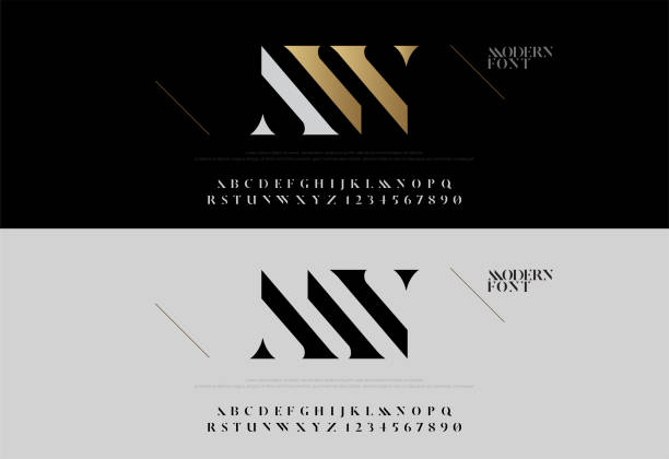 Elegant alphabet letters font set. Modern lettering fashion concept. Typography fonts classic style, regular uppercase and number. vector illustration Elegant alphabet letters font set. Modern lettering fashion concept. Typography fonts classic style, regular uppercase and number. vector illustration alphabet designs stock illustrations