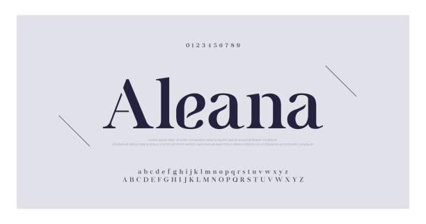 элегантный алфавит буквы засечек шрифт и номер. классическая буква минимальная мода. типографские шрифты регулярно верхний регистр, нижни� - алфавит stock illustrations