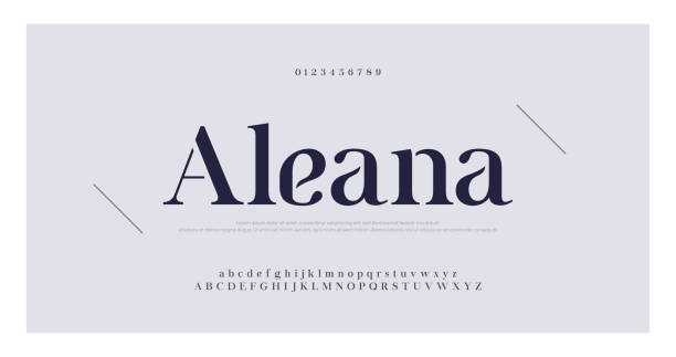 エレガントなアルファベットの文字セリフフォントと数字。クラシックレタリングミニマルファッション。タイポグラフィフォントは、通常の大文字、小文字、数字です。ベクトルイラスト� - 大文字点のイラスト素材/クリップアート素材/マンガ素材/アイコン素材