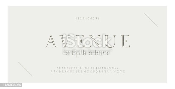 Elegant alphabet letters serif font and number. Classic Lettering Minimal Fashion. Typography thin line fonts uppercase, lowercase and numbers. vector illustration