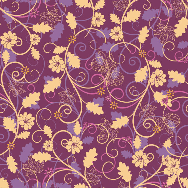 Elegant and beautiful seamless pattern with leaves, flowers and cute swirls. Autumn background. Great for fall themed banners, wallpapers, seasonal fashion prints, invitations - vector design vector art illustration